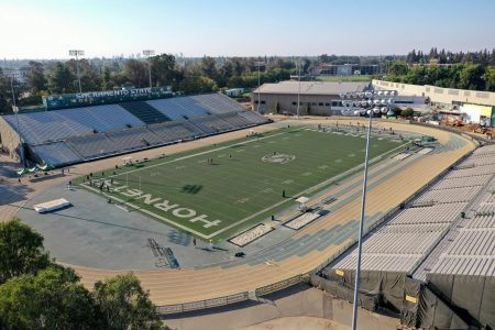 Hornet Stadium on Oct. 6, 2020. The Hornets football team will opt out of the spring 2021 Big Sky Conference season, meaning they will not participate in conference play until fall 2021.