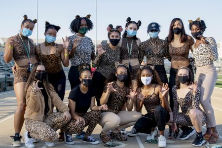 The women sprinters pose for a photo at the Sac State track and field Halloween costume contest at the Hornet Stadium Friday, Oct. 30, 2020. They won first place out of five teams in the costume contest.