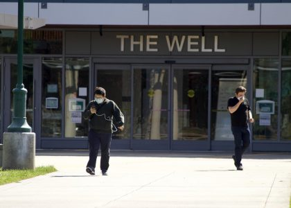 Students exit the WELL at Sacramento State on April 17, 2020. COVID-19 cases peaked at Sac State the week of Nov. 9 to 15, with 22 positive cases among students and employees and 6 of those being on campus.