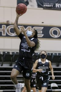 Jakira Wilson lays the ball up during the Sac State women's basketball team practice at The Nest at Sacramento State Tuesday, Oct. 27, 2020. Wilson played in 22 out of 30 games last season.