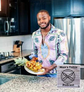 "Jordan Thomas ""Chef JT"" shows off a seafood jerk pineapple bowl made on his YouTube channel Visionary Eats. (photo courtesy of Jordan Thomas)"