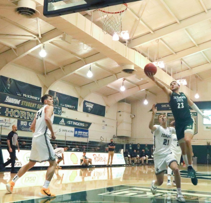 Sacramento States senior forward Bryce Fowler (23) makes a right handed finger roll layup during the second half in the game against the University of Idaho at The Nest at Sac State Saturday, Dec. 5, 2020. Fowler had 17 points in the game. Sac State won 73-57.