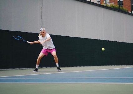 Incoming freshman Rudolfs Akenoks practicing tennis in Latvia. Akenoks will be able to come to Sacramento State