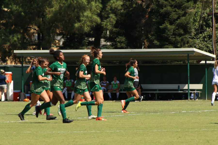 Members of the Sac State women's soccer team jog up the field against Cal Baptist on Sept. 8, 2020 at Hornet Field. The women's soccer season has been pushed to spring 2021.