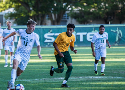 Sac State senior midfielder Matt Carnefix dribbles upfield against San Francisco on Thursday, Sept. 19, 2019 at Hornet Field. Thursday, Dec. 10, 2020, the Big West Board of Directors unanimously decided to all fall sports set to continue in the spring due to concerns over COVID-19 and the difficulty and resources it would take to keep student athletes safe.