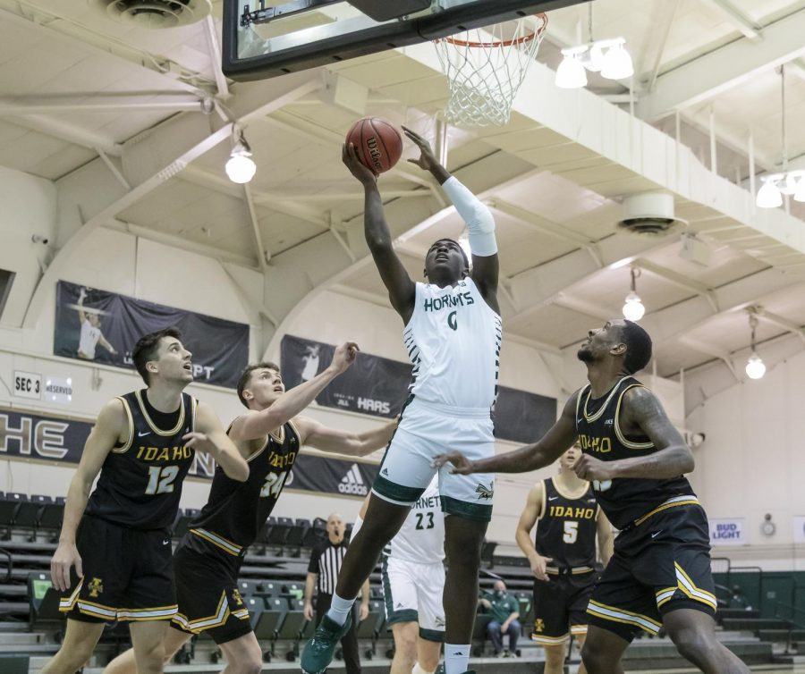 Sacramento State's Samaad Hector (0) goes up strong to make the layup during the second half in the conference opener in the game against the University of Idaho at The Nest at Sac State Thursday, Dec. 3, 2020. Hector said the schedule changes up the competitive ante on the court.