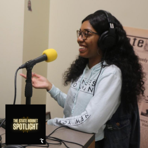Shiavon Chatman in the State Hornet newsroom recording studio last semester. Chatman is now graduated and has a published book available on Gumroad.