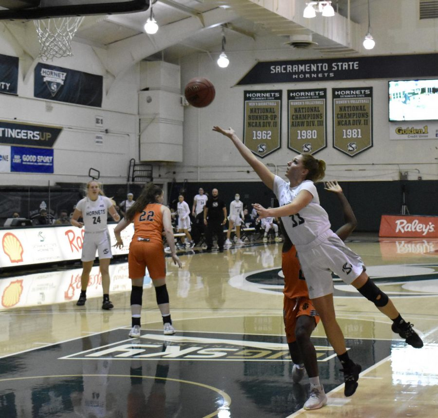 Sacramento State's Sarah Abney floats up a shot in the first half of the game against Idaho State at the Nest at Sac State on Thursday, Jan. 14, 2021. Abney was the top scorer with 17 points.