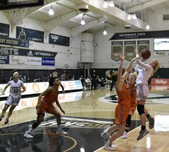 Sacramento State's Summer Menke attempts a jump shot in the first half of the game against Idaho State at the Nest at Sac State on Thurs, Jan. 14, 2021. The Hornets remain winless on the year.