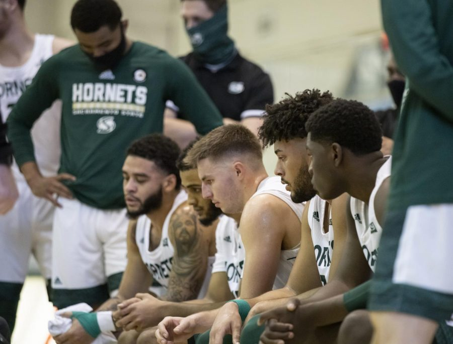 Sacramento State Hornets during a timeout during the second half during the conference game at the Nest at Sac State Thursday, Jan. 21, 2021. The score was Montana 37-35 with 14:45 left in the second half. The Hornets move to 4-3 in Big Sky competition after the loss to Eastern Washington on Sunday.
