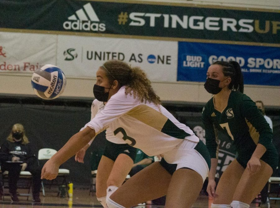 Sac State senior outside hitter Macey Hayden performing a block against Idaho State during the second set of the opening home game against Idaho State at the Nest at Sac State Saturday, Jan. 30, 2021. Hayden had 10 digs to go along with six points in the match.
