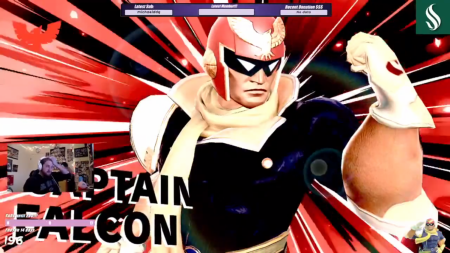 "Aaron ""ArgonGaming"" George beats Concord University players with Captain Falcon, Feb. 15. George was however supposed to be playing State University New York: Canton. Taken via screenshot"