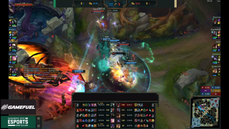The Sacramento State Hornets League of Legends team engages the Southern Utah University Thunderbirds in a team fight behind the dragon pit in the first game of the series on February 13. Screenshot taken by Michael Pacheco