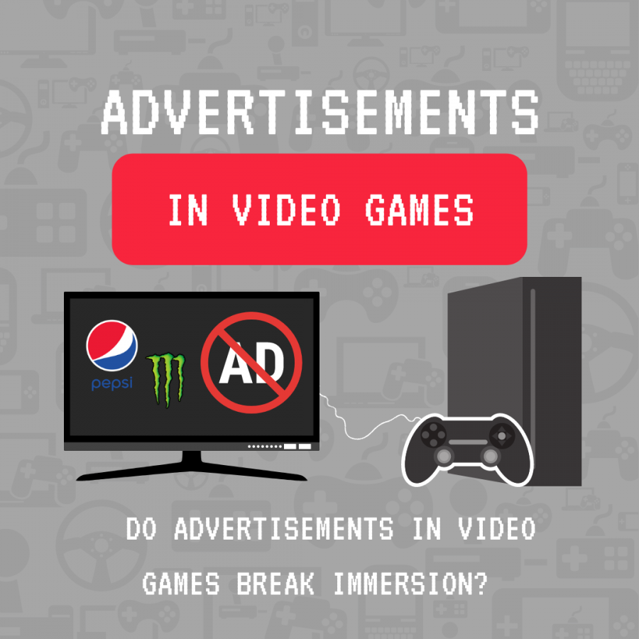 Companies like Pepsi or Monster have always found novel ways to advertise in video games, but do these advertisements break player immersion? Opinion writer Shelby Tolly talked to Sac State students to get their views on product placement in video games. Graphic by Hannah Quijas.