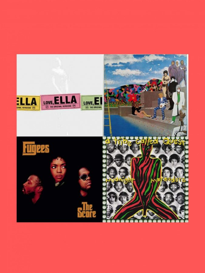 Khalil Bourgoub's collection of music queued up to celebrate influential Black artists includes a diverse representation of the most impactful genres of music they have played key roles in advancing. Album covers are Love, Ella by Ella Fitzgerald, Around The World In A Day by Prince and The Revolution, The Score by Fugees and Midnight Marauders by A Tribe Called Quest. Graphic by Khalil Bourgoub