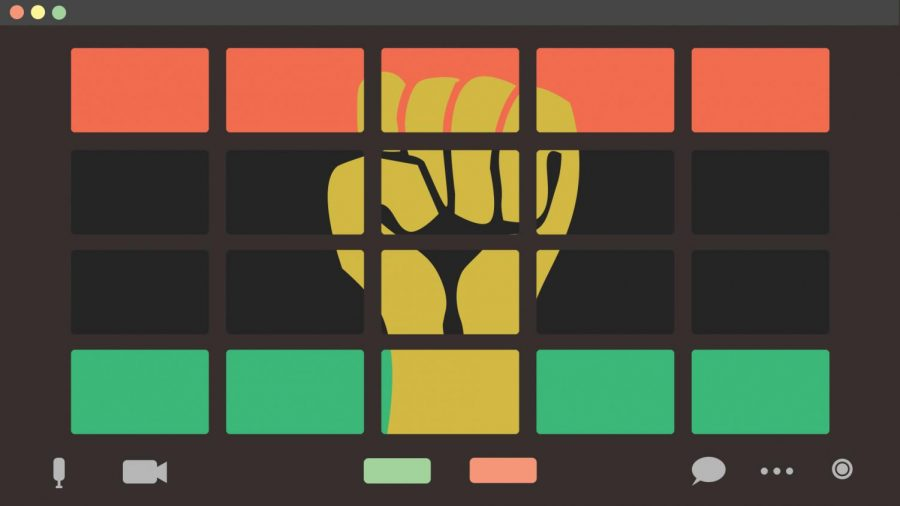 The Pan-African flag is made up of red, black and green stripes; the Black Power movement is symbolized by a fist. Several virtual events will be held in February to celebrate Black History Month.