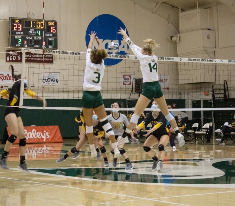 Sac State blocker Sarah Falk (14) and outside hitter Macey Hayden (3) block Idaho's return in the final minute of their fourth set. The Hornets went on to win the Saturday, Feb 13th match 3-1.