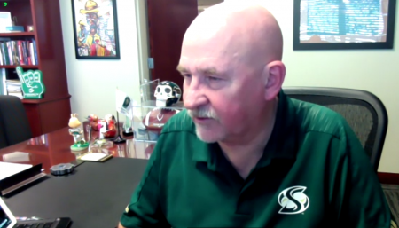 "Sacramento State President Robert Nelsen addresses the Faculty Senate at a virtual meeting Thursday, Feb. 25, 2021. The Faculty Senate discussed the recently announced ""CARmencement"" and endorsing the ABC/No credit option for the spring and summer 2021 semesters. Screenshot taken via Zoom."