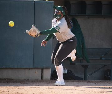 Outfielder Lewa Day practices her catching during a practice at the John Smith Field at Sac State on Friday, Feb. 7, 2021. Day is a sophomore on the team and also plays third base.