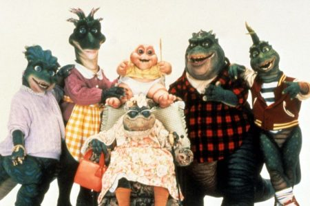 "The Sinclair family from the series ""Dinosaurs"". From left to right, Charlene, Fran, Baby, Ethyl, Earl, and Robbie. The series focuses on the prehistoric family of the Sinclair"
