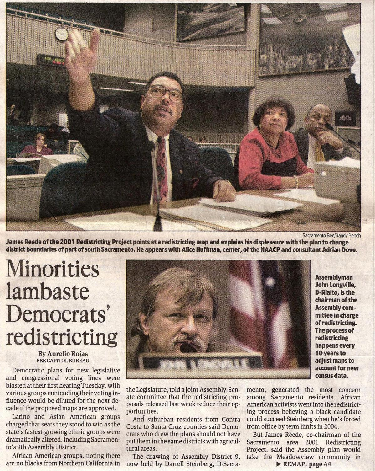 An article in the Sacramento Bee from 2001 featuring James Reede and his work with the Sacramento redistricting project. Reede said he got involved in redistricting to ensure there was equal representation and that districts were drawn equally. Photo courtesy of James Reede.