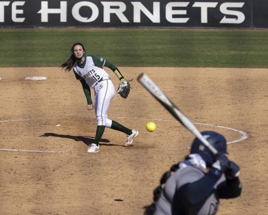 Sacramento State sophomore pitcher Marissa Bertuccio (15) pitches in the top of the fifth inning during the NorCal Kickoff in game one of the doubleheader against California Baptist University at Shea Stadium at Sac State, Friday, Feb. 12, 2021. Bertuccio pitched all seven innings and had five strikeouts.