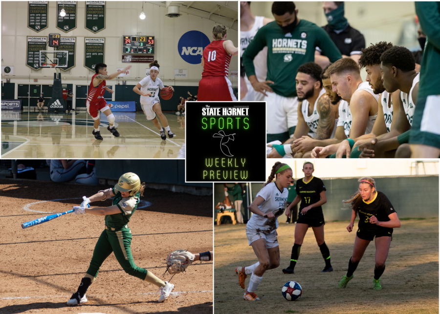 What to watch for this week in Hornet Sports. The baseball team faces Tarleton State in hope of bouncing back from last week's loss, and the women's volleyball team hopes to stay undefeated on its homecourt against Portland State. Graphic by Max Connor