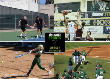What to watch for this week in Hornet Sports. Baseball opens against the formidable Arizona State Sun Devils, softball has a home doubleheader against Cal and men's basketball look to hand Southern Utah their first home loss. Graphic by Max Connor