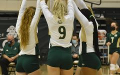Karlee Soderberg (center), hitter for Sac State Volleyball, breaks with her team for the opening home game against Idaho State at the Nest at Sac State Saturday, Jan. 30, 2021. The Hornets lost in back-to-back matches against the University of Northern Colorado in six straight sets on Feb. 7 and 8 at Bank of Colorado arena.
