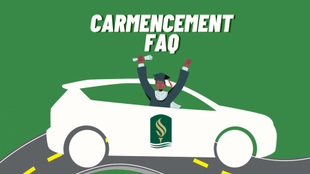 Sacramento State holds a CARmencement graduation ceremony in the illustration above. The celebration will take place on Friday, May 21, 2021 for student graduates of 2020 and 2021. Graphic created in Canva.