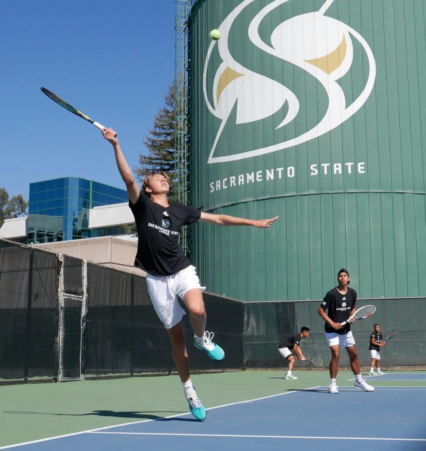 Sac State Freshman Liam Liles chases a return during a doubles match on Sunday, Feb. 28, 2021. The tennis team dropped their third match in a row bringing their record to 1-5 on the season.