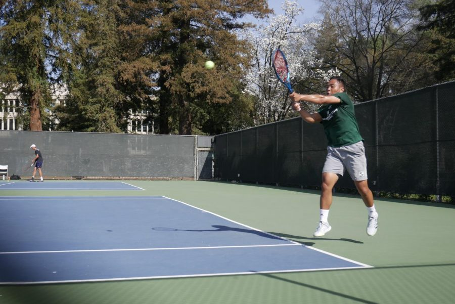 Sac State senior Hermont Legaspi rallies as Saint Mary's leads this singles match on Friday, March 5, 2021 at the Sac State courts. Legaspi won his singles match but fell in the doubles match with partner Michael Vizcarra.