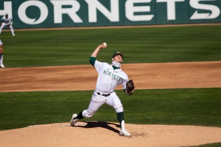FILE PHOTO: Hornet baseball team pitcher Scott Randall pitches against Texas State on February 27. Randall leads the team in wins and innings pitched and is tied for first in strikeouts.