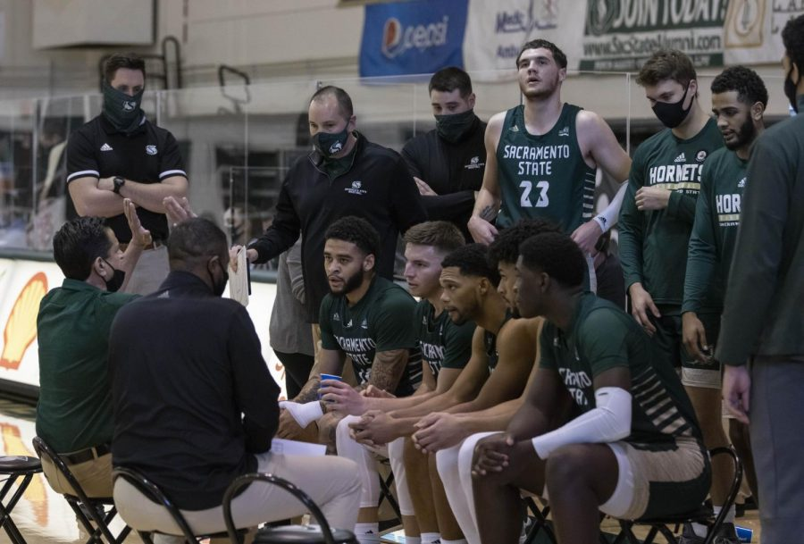 The Sac State men's basketball team gathers during a timeout in the second half of the conference game against Montana State at The Nest at Sac State on Jan. 23, 2021. The Hornets are entering the Big Sky Tournament after winning their last game against Montana State 74-73 on Saturday.