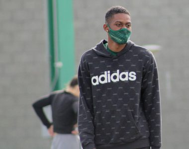 Sacramento State's Jabari Reynolds II walks back to drill following 10x10 100-meter warm-up on the track at Sac State on Thursday, Feb. 18, 2021. Jabari has the fifth fastest 200-meter time in Sac State history at 21.81 seconds in 2020.