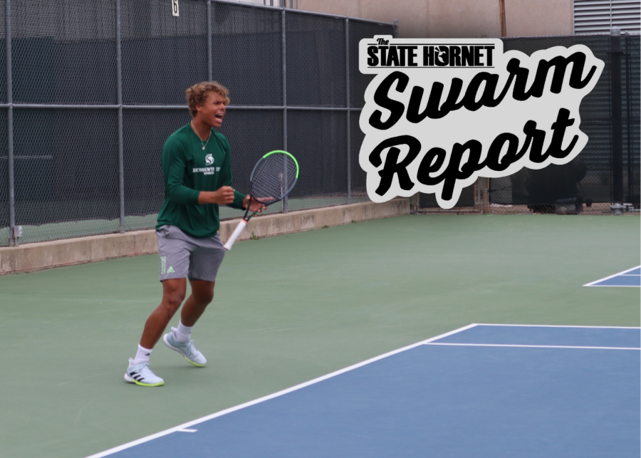 Sac State freshman Jan Silva celebrates after a great serve against Fresno State on Sunday, March 14, 2021. Silva lost his singles match and the Hornets lost to the Bulldogs dropping to 2-7 on the season.