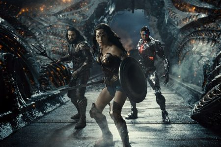 From left to right, Aquaman, played by Jason Momoa, Wonder Woman, played by Gal Gadot, and Cyborg, played by Ray Fisher, team up in director Zack Snyder