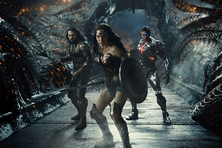 From left to right, Aquaman, played by Jason Momoa, Wonder Woman, played by Gal Gadot, and Cyborg, played by Ray Fisher, team up in director Zack Snyder's cut of