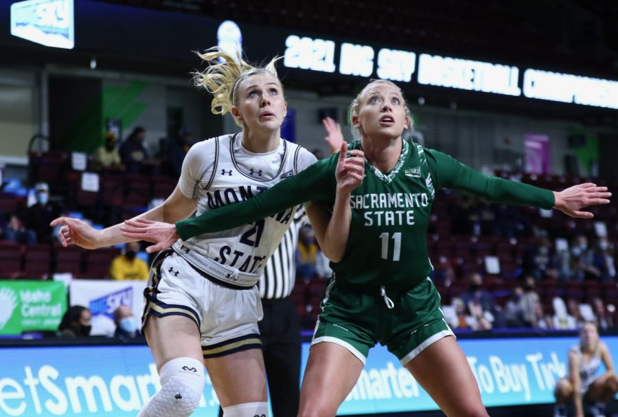 Sac State junior guard Summer Menke and Montana State freshman forward Lexi Deden fight to box each other out for a rebound during their second round game of the Big Sky Conference Tournament on Tuesday, March 9, 2021. The Hornets committed 21 turnovers in the season ending loss. (Photo courtesy of Big Sky Conference)