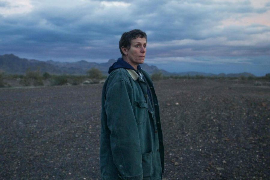 Frances McDormand plays Fern, a woman who has recently lost her job and home in the recession and starts to live as a nomad, in Chloé Zhao's