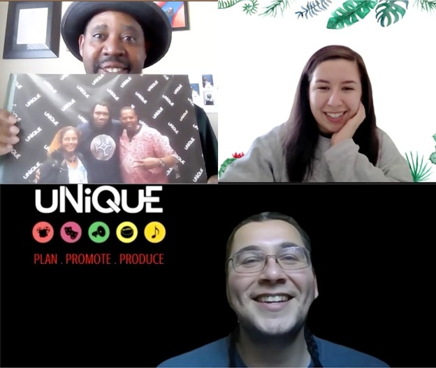 Clockwise, from upper left: UNIQUE Program Advisor Ajamu Lamumba and UNIQUE volunteers Elysse Fresquez and Noah Flores discuss their experience with hosting virtual events in a pandemic in a Zoom meeting on March 12, 2021. Lamumba showed a picture that was taken with his wife and rapper, KRS-One who was a guest speaker for a UNIQUE event.