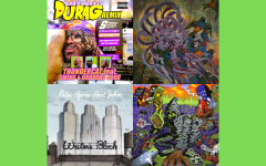 """A mashup of albums that highlight the different themes of the playlist that were significant to Khalil Bourgoub. The albums from left to right are """"Dragonball Durag Remix"""" by Thundercat, """"Technicolor"""" by Covet, """"Writer's Block"""" by Peter Bjorn and John and """"UNLOCKED"""" by Denzel Curry and Kenny Beats."""