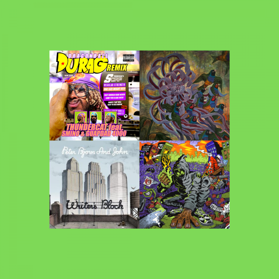 "A mashup of albums that highlight the different themes of the playlist that were significant to Khalil Bourgoub. The albums from left to right are ""Dragonball Durag Remix"" by Thundercat, ""Technicolor"" by Covet, ""Writer's Block"" by Peter Bjorn and John and ""UNLOCKED"" by Denzel Curry and Kenny Beats."