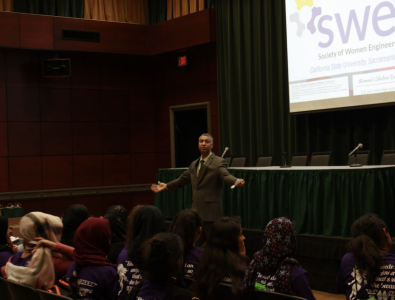 Lorenzo Smith, the dean of the College of Engineering and Computer Science, delivers his keynote speech at Women