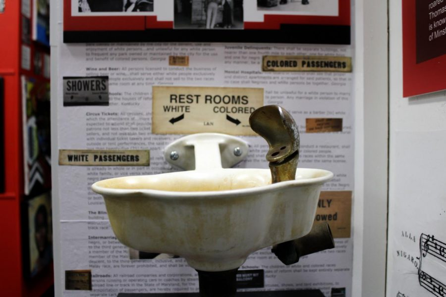 A water fountain from the Jim Crow era is displayed in The Sojourner Truth African Museum on Saturday, March 20, 2021. Jim Crow refers to laws that were racially aimed at Black Americans in the south during 20th century segregation.