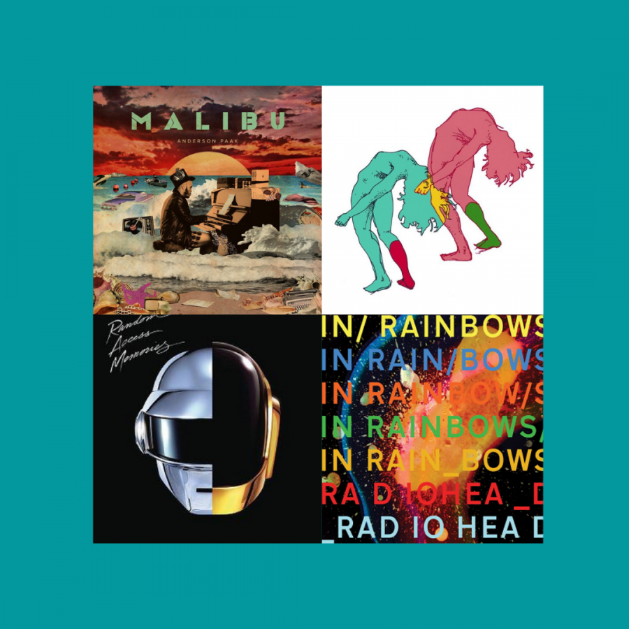 A+collection+of+albums+featured+in+a+playlist+for+a+spring+break+road+trip+Khalil+Bourgoub+put+together%2C+showing%2C+clockwise+from+top+left%2C+%E2%80%9CMalibu%E2%80%9D+by+Anderson+.Paak%2C+%E2%80%9CUltra+Ego%E2%80%9D+by+Feed+Me+Jack%2C+%E2%80%9CIn+Rainbows%E2%80%9D+by+Radiohead+and+%E2%80%9CRandom+Access+Memories%E2%80%9D+by+Daft+Punk.%0A
