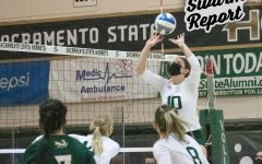Setter Ashtin Olin sets the ball for teammates Bridgette Smith or Sarah Falk to spike during the third set of Sacramento State's last game at home against Portland State University at the Nest Sunday, March 13, 2021. The Hornets lost the match against Portland State with a final score of 3-1.