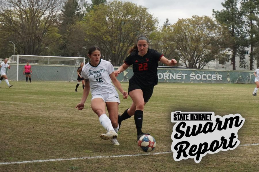 Senior forward Julia Herrera plays keep away against Eastern Washington player Brittany Deldrige in the opening of Big Sky Conference play Friday, March 19, 2021 at the Sac State soccer stadium. Herrera claimed 1 of the 5 total shots taken by Sac State.