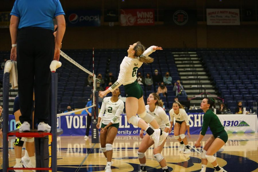 Freshman outside hitter Bridgette Smith attempts a kill at the Bank of Colorado Arena on Wednesday, March 31, 2021 in the Hornets' first round matchup against Northern Arizona. Sac State lost the match 3-0 as their season came to an end.