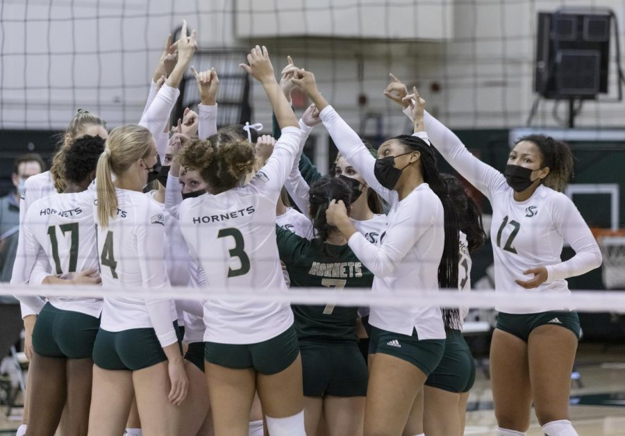 Sacramento State celebrates after winning the match against Portland State in the Nest at Sac State on Friday, March 12, 2021. Sac State won 3-1.
